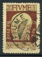 Rijeka 1920 Sass. 118 Oblitéré 100% 30 C. Rouge Brun D'Annunzio - Fiume
