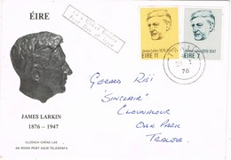 32734. Carta TRALÍ (Tralee) Eire, Irlanda 1976, Anniversario Nacimiento JAMES LARKIN - 1949-... Republic Of Ireland