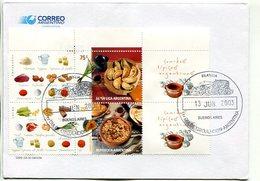 """COMIDAS TIPICAS ARGENTINAS"". ARGENTINA AÑO 2003, SOBRE PRIMER DIA DE EMISION, FDC ENVELOPE. - LILHU - Alimentación"