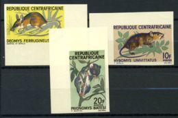 Afrique Centrale 1966 Mi. 113-115 Neuf ** 100% Non Dentelé Rongeurs. - Centrafricaine (République)
