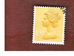 GRAN BRETAGNA (UNITED KINGDOM) -  SG X890  -  1976 QUEEN ELIZABETH II  10 YELLOW  - USED° - 1952-.... (Elisabetta II)