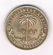 0NE SHILLING 1943 BRITISH WEST  AFRICA /4019/ - Coins