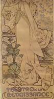 2 Affiches Signées Alphonse Mucha, Spectacle De Mme Sarah Bernhardt Au Théâtre De La Renaissance. Format: 20x42. TB état - Affiches
