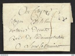 Haute Saone-Lettre-Marque Linéaire 69 GRAY (30*12)-Pour Lons Le Saunier-1799 - Postmark Collection (Covers)