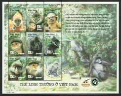 VIETNAM  2002  MONKEY'S  SHEET  MNH - Monkeys