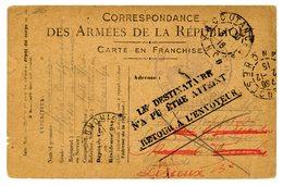 MANCHE CPFM 1916 COUTANCES HOPITAL COMPLEMENTAIRE N°49 COUTANCES=> LE DESTINATAIREN'A PAU ETRE ATTEINT RETOUR A L ENVOYE - Marcophilie (Lettres)