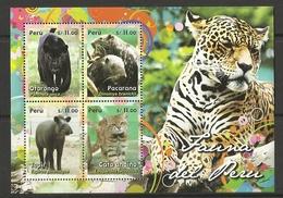 PERU  2014  FAUNA,ANIMALS,WILD CATS   SHEET   MNH - Timbres