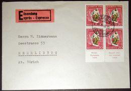 Schweiz Suisse 1948: Winter-Olympiade D'hiver HOCKEY Zu WIII 27 Mi 494 Yv 451 Exprès + TAB O LUZERN 11.II.48 (Zu CHF 16) - Hockey (sur Glace)
