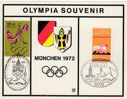 1972 MÜNCHEN - BRD  MiNr: 719 + UdSSR 4565 Souvenirkarte - Zomer 1972: München
