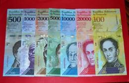 VENEZUELA  2016-2017 SET OF-7 BOLIVARES ( 500 1000 2000 5000 10000 20000 100000 ) - UNC - NEUF - Venezuela