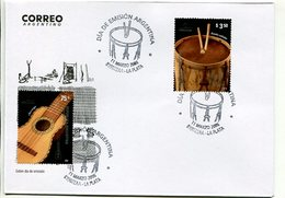 INTRUMENTOS MUSICALES, BOMBO CHARANGO. ARGENTINA AÑO 2006, SOBRE PRIMER DIA DE EMISION, FDC ENVELOPE. - LILHU - Música