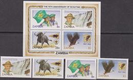 Zambia 1982 Scout Set+sheet MNH - Zambia (1965-...)