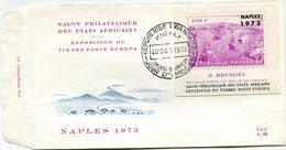 """RWANDA ENVELOPPE PREMIER JOUR DU BF 31  TABLEAU DE P. BREUGEL BATAILLE DANS LE PORT ...SURCHARGE EN ARGENT """"NAPLES 1973"""" - Rwanda"""