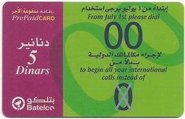 Bahrain - Batelco - From July 1st Dial 00, 5BD Prepaid Card, Used - Bahrain