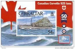 Nº 48 TARJETA DE GIBRALTAR DE UN SELLO CON UN BARCO (SHIP-STAMP)  NUEVO-MINT - Gibraltar