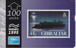 Nº38 TARJETA DE GIBRALTAR DE UN SELLO CON UN BARCO USS WEEKHAWKEN (STAMP-SHIP) - Gibraltar