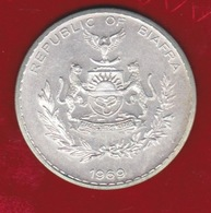 BIAFRA 1969 - 1 POUND SILVER -WORLD COINS KM6 - RARE - UNCIRCULATED - - Biafra