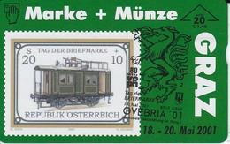 F-577 TARJETA DE AUSTRIA DE UN TREN TIRADA 565   SELLO-STAMP  (TRAIN-ZUG) - Stamps & Coins