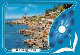 Cartolina Bordighera Panorama Parziale Scogli Animata Stabilimenti 1987 - Imperia