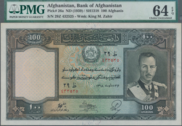 Afghanistan: 100 Afghanis SH1318 ND(1939), P.26a In UNC, PMG Graded 64 Choice Uncirculated EPQ - Afghanistan
