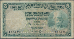 Albania / Albanien: Pair With 5 And 20 Franka Ari ND(1926), P.2a, 3a In About F Condition. (2 Pcs.) - Albania