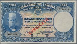 Albania / Albanien: Banca Nazionale D'Albania 20 Franka Ari ND(1926) SPECIMEN, P.3s, Almost Perfect - Albania
