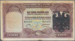 Albania / Albanien: 100 Franka Ari ND(overprint 1939), P.5, Lightly Toned Paper, Margin Split And Ti - Albania