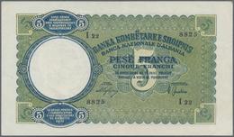 Albania / Albanien: 5, 20 And 100 Franga ND(1939-40), P.6, 7, 8 In VF/F/F- Condition. (3 Pcs.) - Albania