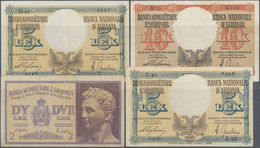 Albania / Albanien: 2, 2x 5 And 10 Lek ND(1940-42), P.9, 10, 11 In VF To XF Condition. (4 Pcs.) - Albania