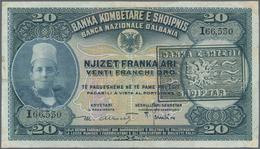 Albania / Albanien: 20 Franka Ari, 20 And 100 Franga Overprint Issue ND(1945), P.12b, 13, 14 In F To - Albania
