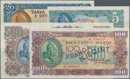 "Albania / Albanien: 1945 ""Skanderbeg"" Franga Issue With 5, 20, 100 And 500 Franga, P.15-18 In UNC Co - Albania"