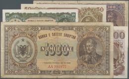 Albania / Albanien: Banka E Shtetit Shqiptar Set With 5 Banknotes 1947 Series With 10, 50, 100, 500 - Albania