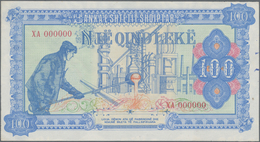 Albania / Albanien: 100 Leke ND(1985) Color Trial Specimen In Blue And Dull Red Color, P.46Aas1 In U - Albania
