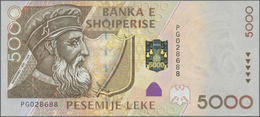 Albania / Albanien: Set With 4 Banknotes Of The 2001 Issue With 200, 500, 1000 And 5000 Leke, P.67-7 - Albania