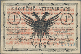 Albania / Albanien: Pair With 1/2 And 1 Frange 1917 Of The Albanian Self Government, P.S141a, S142b, - Albania