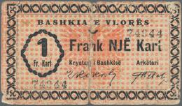 Albania / Albanien: Municipality Of Vlorë/Valona 1 Frank Kart 1924, P.S183, Almost Well Worn With La - Albania
