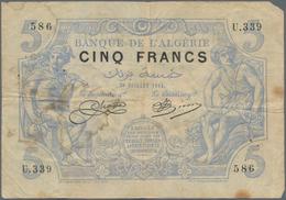 Algeria / Algerien: 5 Francs 1914, P.71a, Some Small Spots And Pinholes, Tiny Part Missing At Upper - Algeria