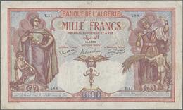Algeria / Algerien: Banque De L'Algérie 1000 Francs 1926, P.83, Very Nice And Great Condition For Th - Algeria