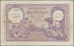 Algeria / Algerien: Banque De L'Algérie 1000 Francs 1942 P.86 (F) And 500 Francs 1944 P.95 (F/F+ Wit - Algeria