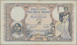 Algeria / Algerien: Banque De L'Algérie 5000 Francs 1942, P.90, Still Nice With A Number Of Pinholes - Algeria