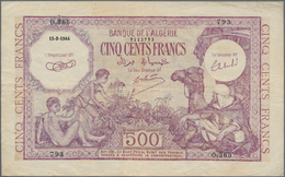 Algeria / Algerien: 500 Francs 1944, P.95, Some Folds And Tiny Pinholes At Left, Condition: F+/VF - Algeria