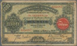 "Angola: 1000 Reis 1909 With Seal Type ""Filial Em Loanda"", P.27, Margin Splits And Toned Paper. Condi - Angola"