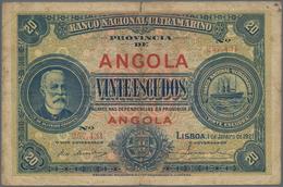 Angola: 20 Escudos 1921, P.59, Small Border Tears, Tiny Hole At Center. Condition: F. Very Rare! - Angola