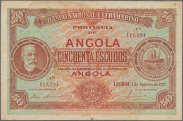 Angola: Banco Nacional Ultramarino - Provincia De Angola 50 Escudos 1921, P.60, Lightly Stained, Mar - Angola