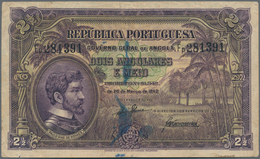 Angola: 2 1/2 Angolares 1942, P.69, Ink Stains, Lightly Toned And A Few Folds. Condition: F/F+ - Angola
