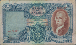Angola: 100 Angolares 1946, P.81, Rusty Spots From A Paper Clip, Some Folds. Condition: F/F+. Very R - Angola