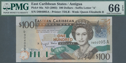 Antigua: Nice Group Of 4 Banknotes 100 Dollars ND(2003), P.46a, All In UNC And All PMG Graded 66 Gem - Banknotes