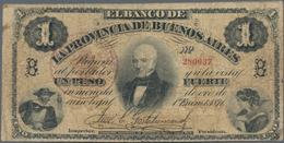 Argentina / Argentinien: La Provincia De Buenos Aires 1 Peso L.1871, P.S524b, Small Border Tears, To - Argentina