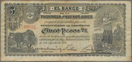Argentina / Argentinien: El Banco De La Provincia De Buenos Aires 5 Pesos 1891, P.S575a, Lightly Ton - Argentina