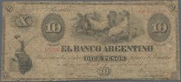 Argentina / Argentinien: 10 Pesos 1866 P.S1527 (VG) And 10 Centavos 1884 P.6 (F+). (2 Pcs.) - Argentina